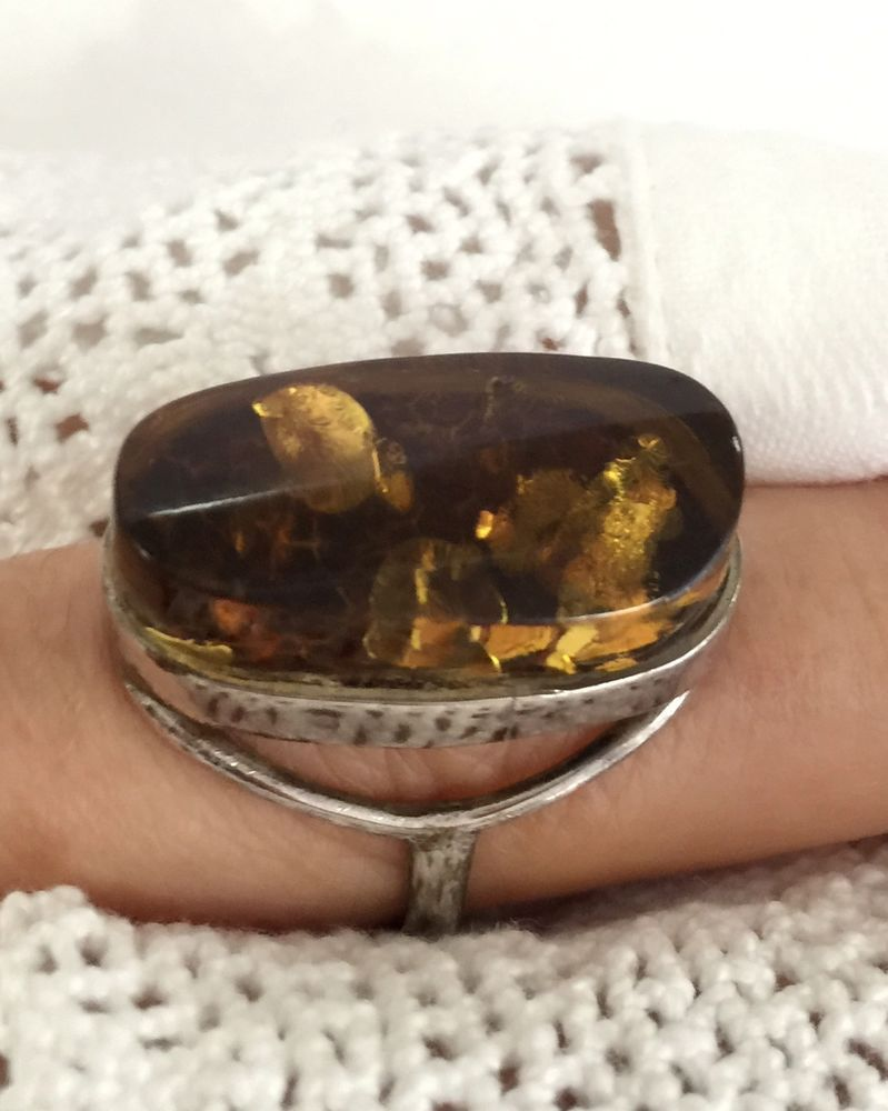 Beautiful baltic amber ring size brown color mounted in sterling