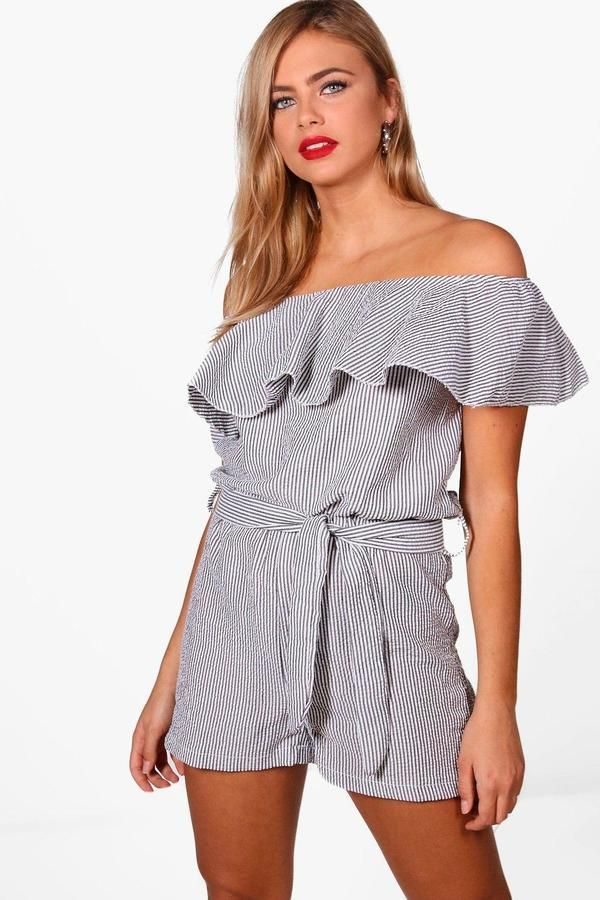 07b7cdab6e153 boohoo Kerry Gingham Off The Shoulder Playsuit