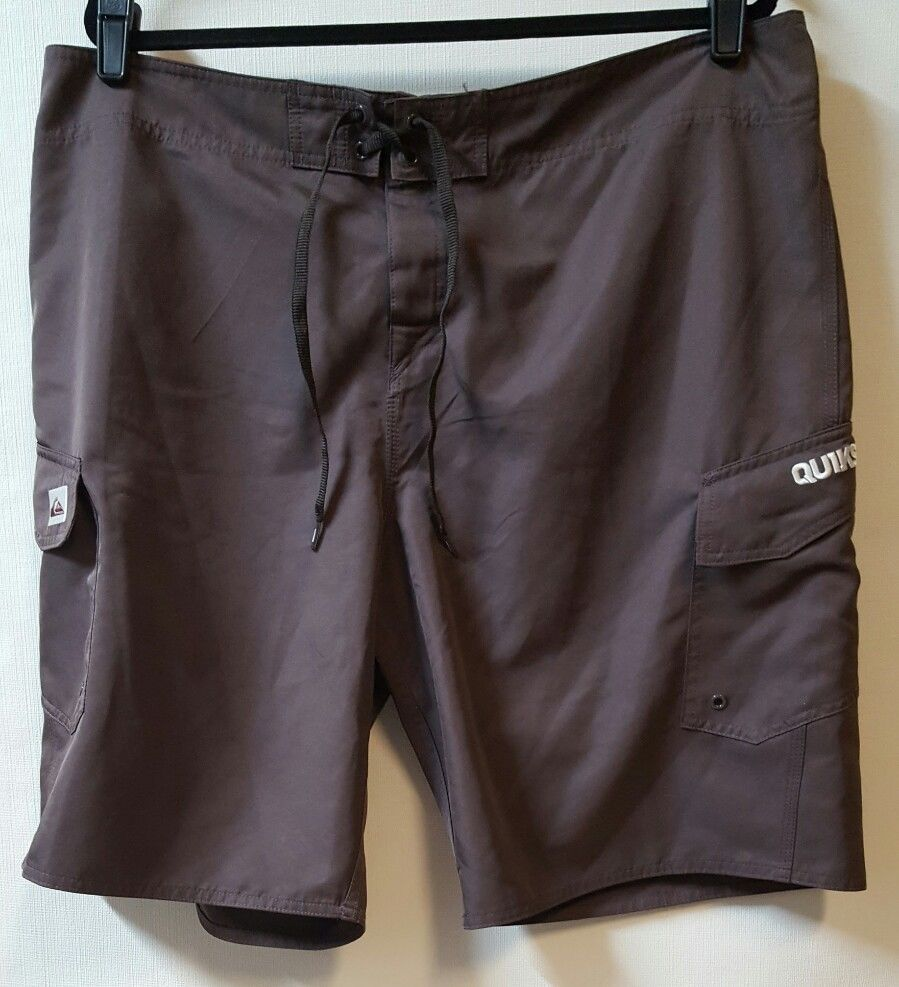 Quiksilver Size 40 Brown Board Shorts X 10 Light Weight 2 Flap Boardshort Mens Original Pockets Clothing
