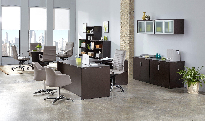 Kennedy Desk With Return Dark Home Office Furniture Design