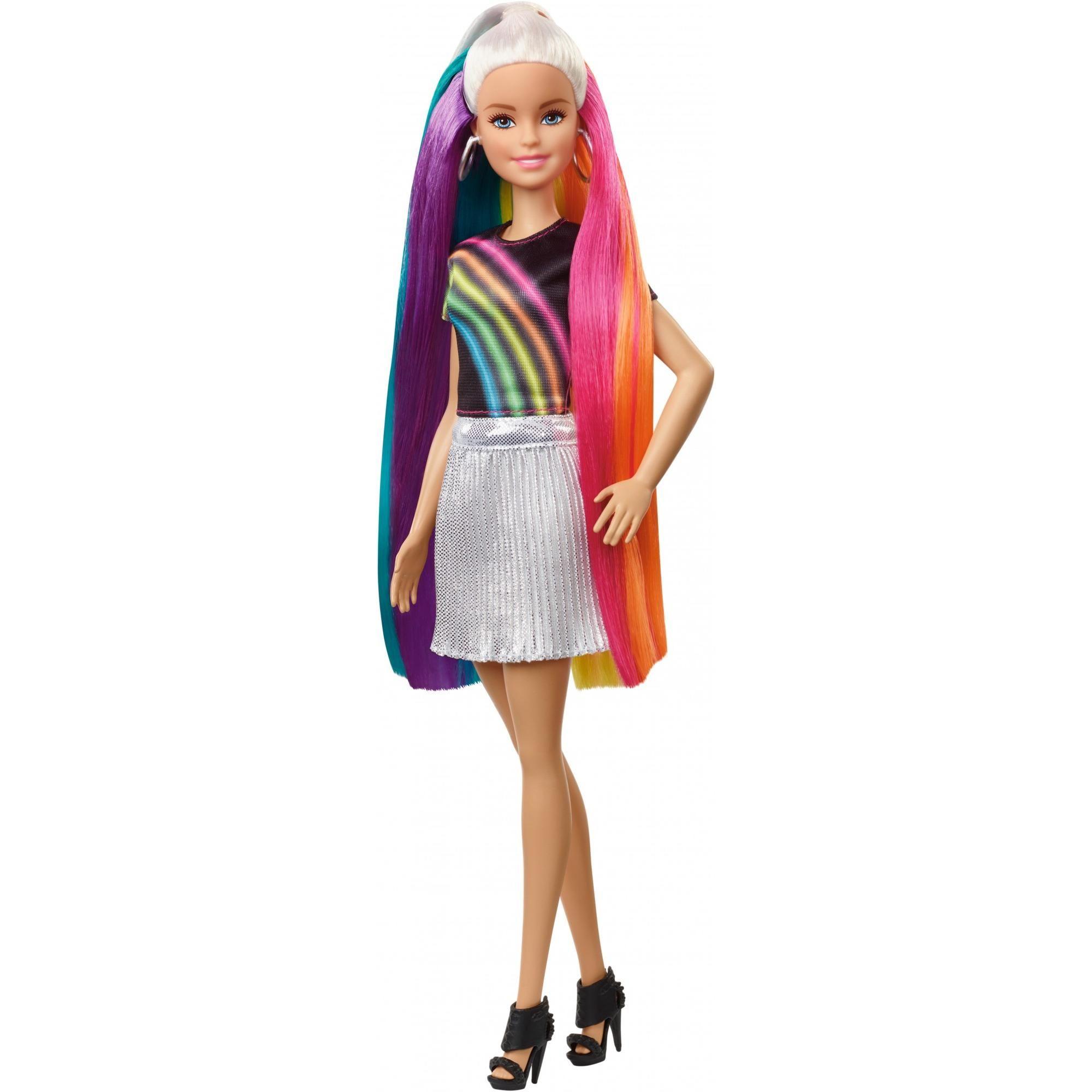 Barbie Rainbow Sparkle Hair Doll Blonde With Accessories Walmart Com In 2020 Girl Hair Colors Doll Hair Barbie Hair