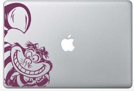 Like the bleed off to the side. Could be interesting with bold text  –––––––––––––––––––––– Cheshire cat 13 laptop sticker by circlewallart on  Etsy,