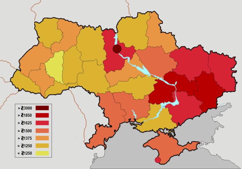 Bei Lhnen und Gehltern besteht in der Ukraine ein Geflle zwischen