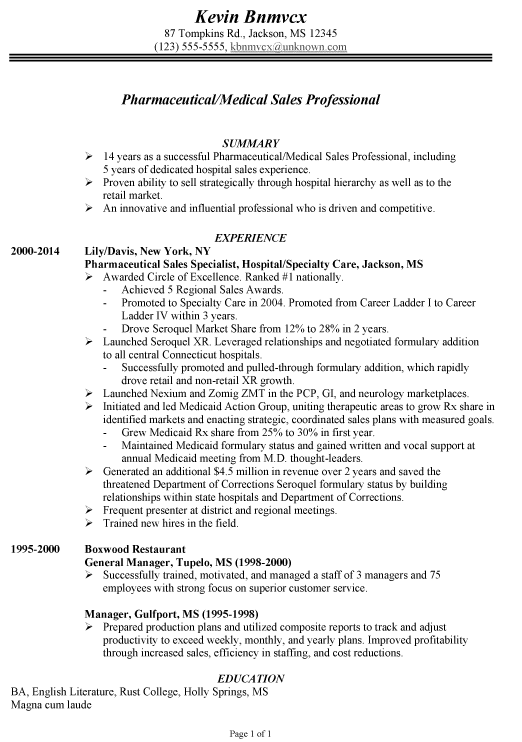 chronological resume example for pharmaceutical medical sales