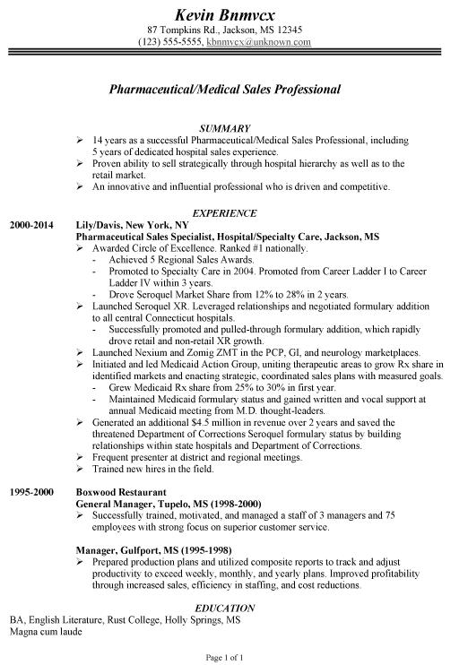 Chronological Resume Sample Pharmaceutical Medical Sales Medical Sales Resume Sales Resume Examples Medical Sales