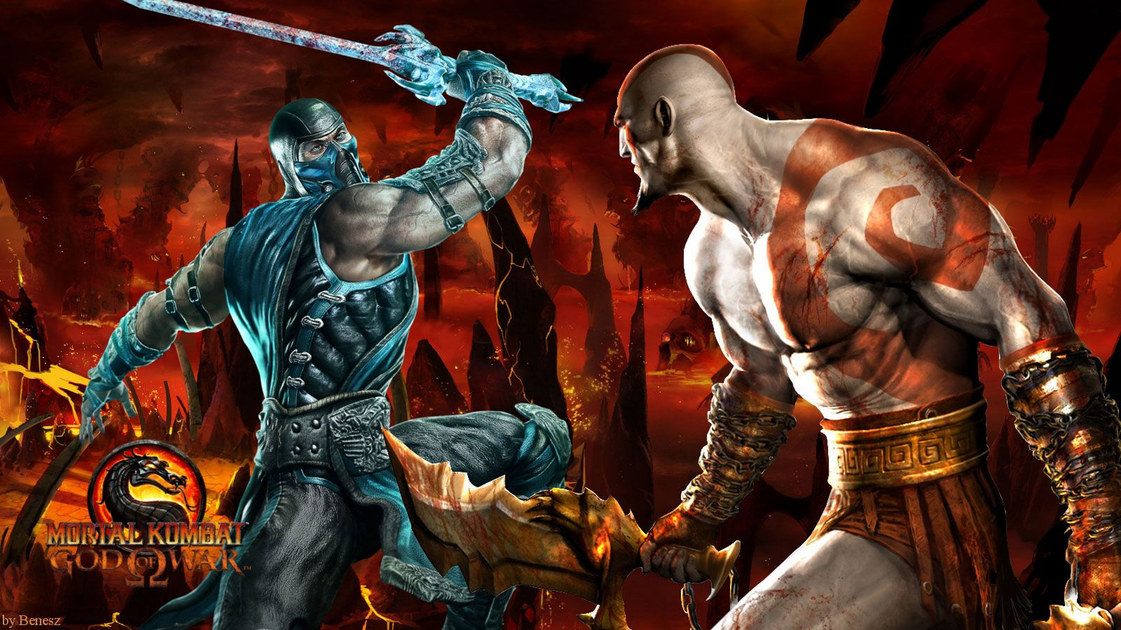 Mortal Kombat - Sub Zero vs Kratos | Video Game Characters | Mortal