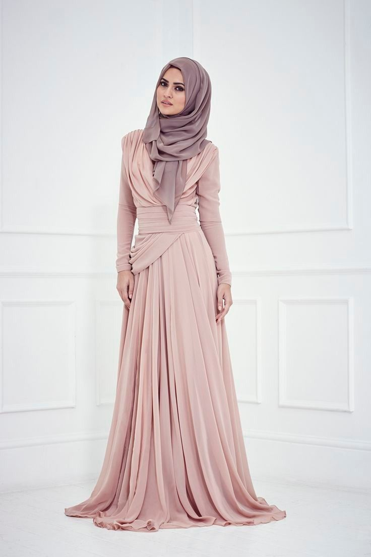 Blush Pleats Chiffon Long Sleeves Evening Dress Wide Pleats Band Droped Long Prom Gown For Evening Party Muslim Dress In Islamic Fashion Hijab Fashion Fashion
