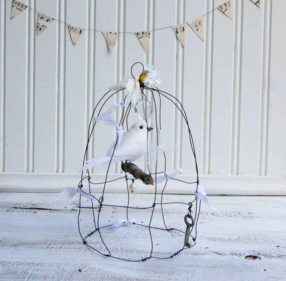 BIRDCAGE White Bird Delicate Wire Sculpture White Wedding Vintage ...