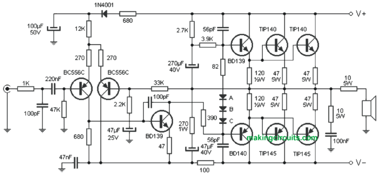 Simple 300 Watt Power Amplifier Circuit using Transistors