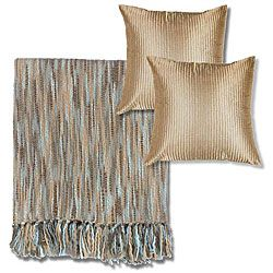 bluebeige machine washable throw blanket and decorative pillows