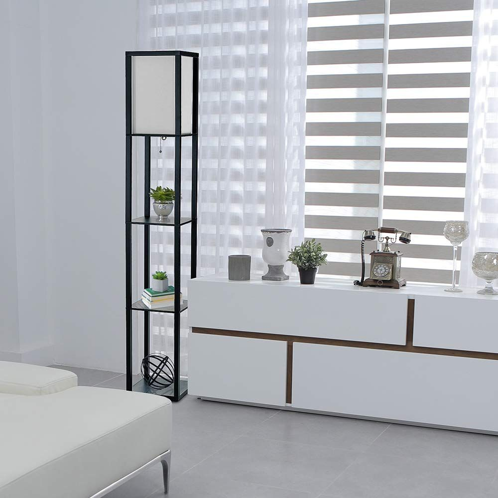 Simple Designs Lf1014blk Floor Lamp Etagere Organizer Storage