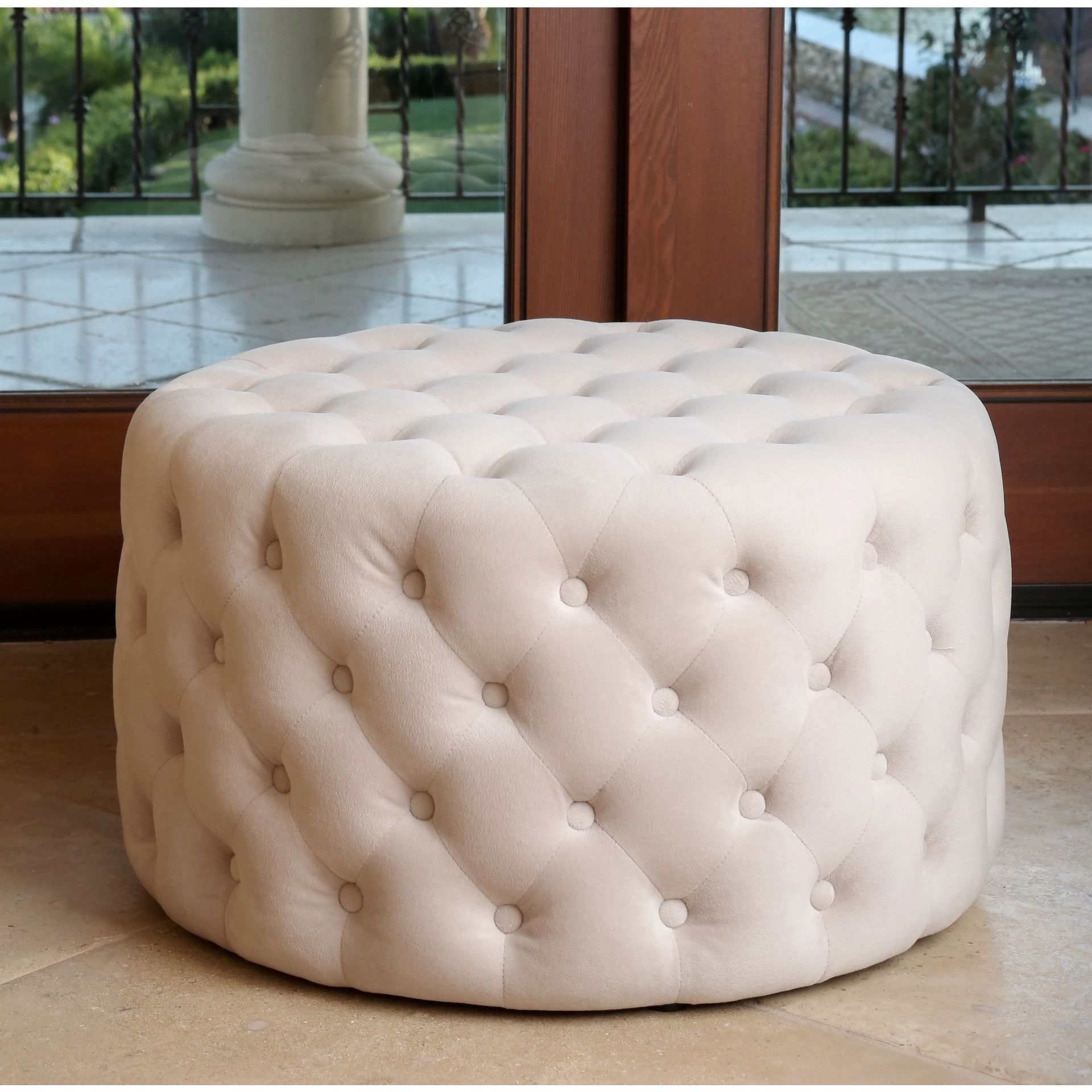 Magnificent Abbyson Ella Ivory Tufted Round Velvet Ottoman Homes In Machost Co Dining Chair Design Ideas Machostcouk