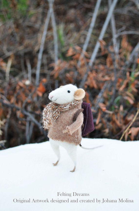 NEW Little Winter Traveler Mouse- Christmas Original artwork designed and created by Johana Molina- by Felting Dreams