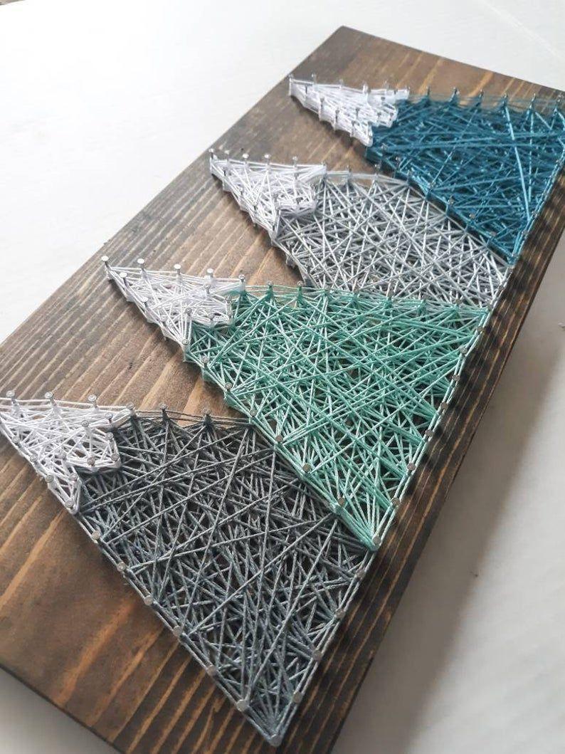 Mountain Range String art, Nursery room decor, wall decor, mountain decor, mountain wall art, string art