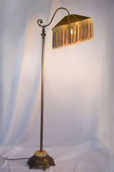 Antique bridge arm floor lamp with lighted onyx base, circa 1930s ...