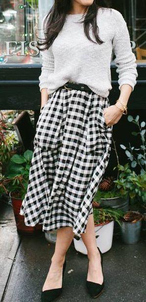 843ca7ba2 Gingham midi | Style | Fashion, Style, Midi skirt outfit