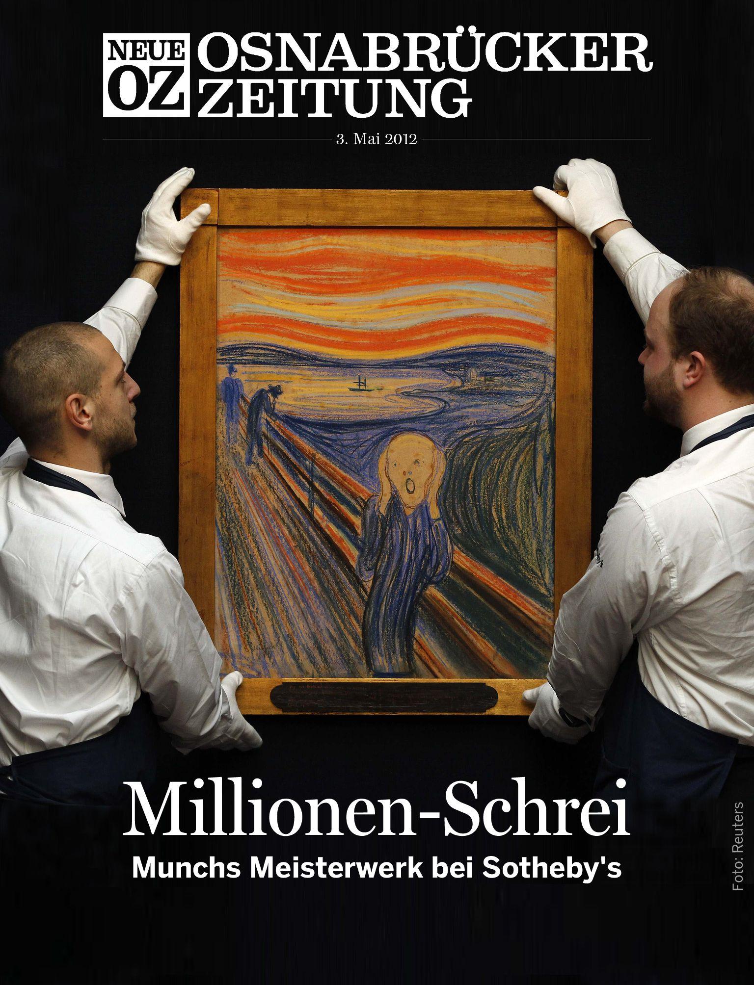 """Unser morgiges Cover-Thema für die NOZ-App: Die Versteigerung des Bildes """"Der Schrei"""" von Munch. #Kunst #Art"""