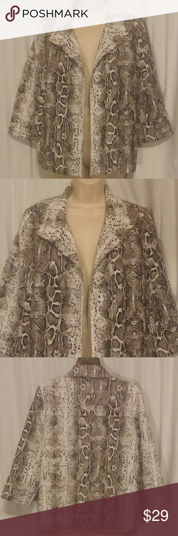 """Chico's Reptile Print Open Front Jacket 1 S All clothes are in excellent used condition. No stains or holes.  Content: 67% Rayon 21% Nylon 12% Nylon lining: 100% polyester.  Bust: 40""""  Length: 24""""  Posh7 Chico's Jackets & Coats Blazers"""