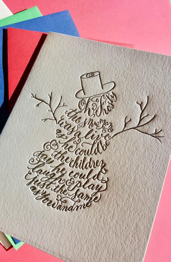 Frosty the Snowman Christmas Card, Letterpress Snowman Card ...