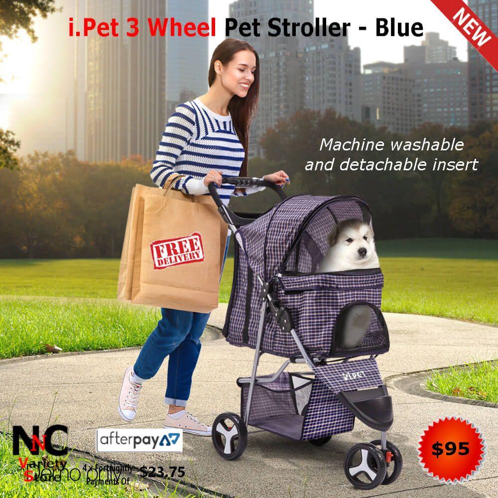 i.Pet 3 Wheel Pet Stroller Blue in 2020 Pet stroller