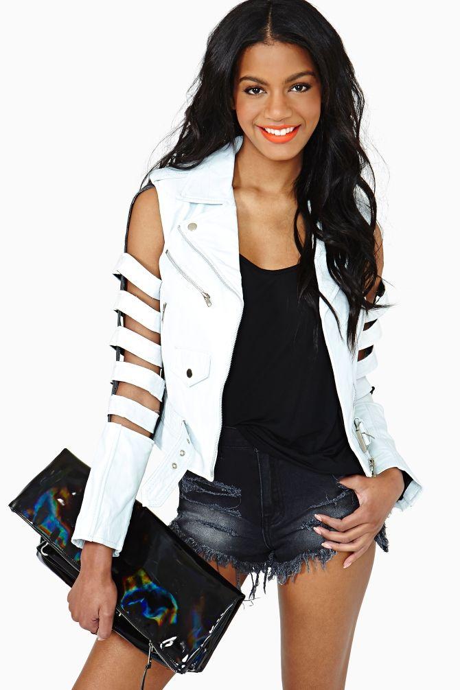 Bone Shredder Leather Jacket in White