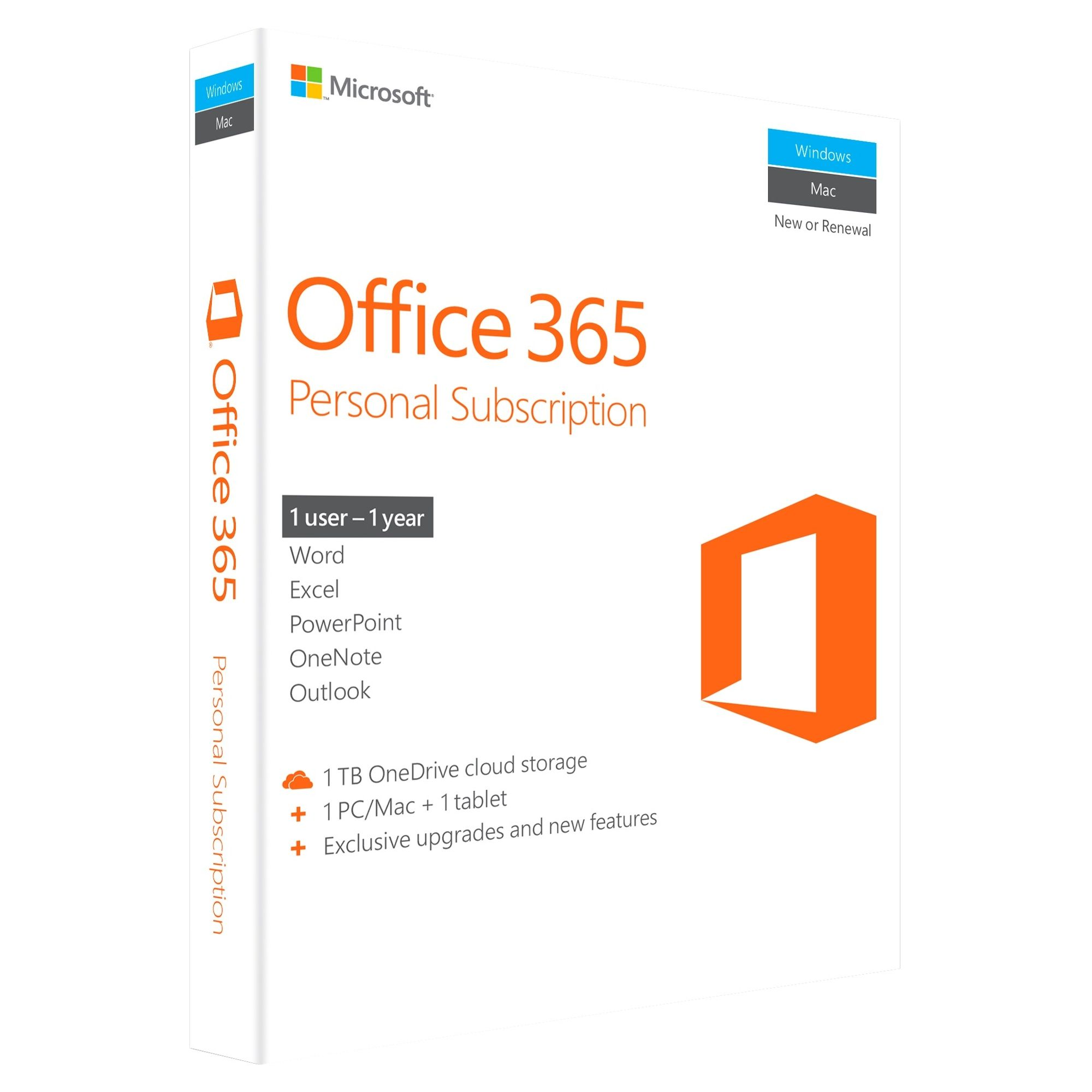 Microsoft Office 365 Personal Subscription Exclusive Upgrades And New Features 1 Tb Onedrive Cloud Storage 1 Tablet 1 Pc Microsoft Office Office 365 Personal Office 365