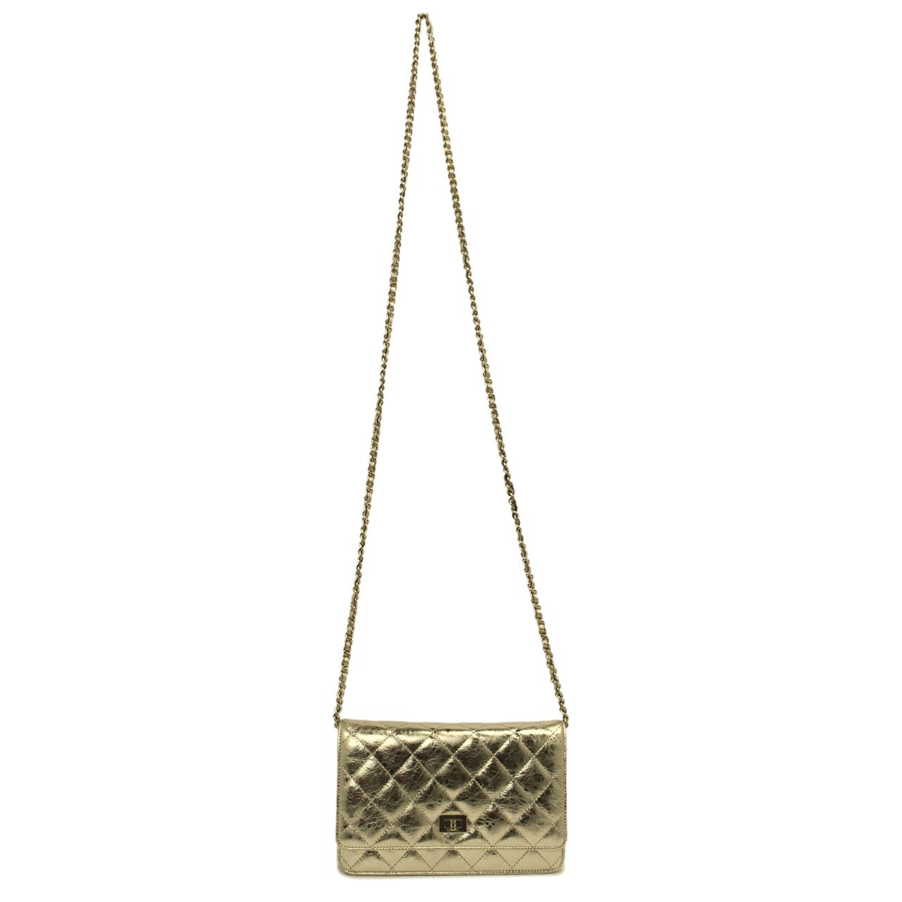 Chanel Metallic Gold Reissue Wallet On Chain WOC - modaselle
