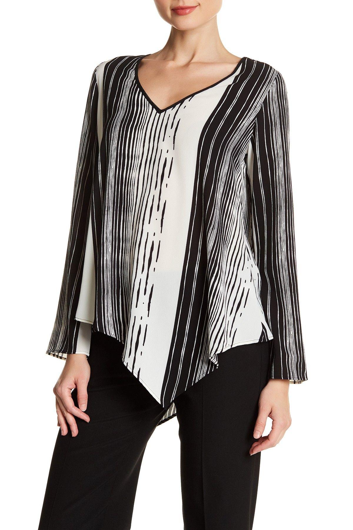 V-Neck Asymmetrical Stripe Blouse