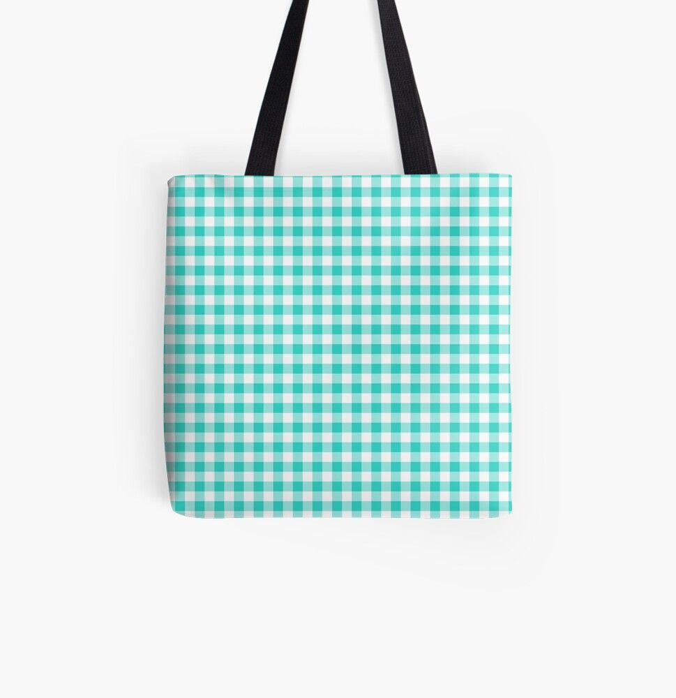 Turquoise Gingham Tote Bag