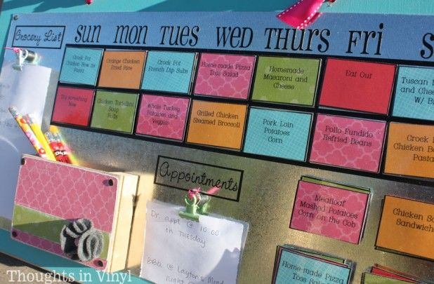 GroopDealz 4 Week Menu Calendar Organizer Vinyl Decal Crafts