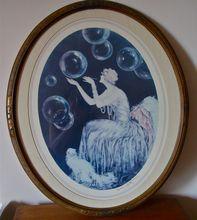 "'Girl Bubbles"" Louis Icart 1980ies print, 20/30ies Frame"
