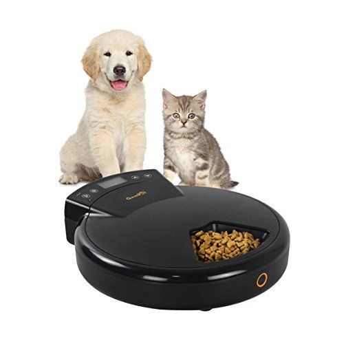 Gempet 5 Meal Trays Automatic Pet Feeder For Cats Dogs For Dry Semiwet Food 240ml X 5 Dual Power System Best Value Buy On Ama Pet Feeder Dog Cat Cat Feeder