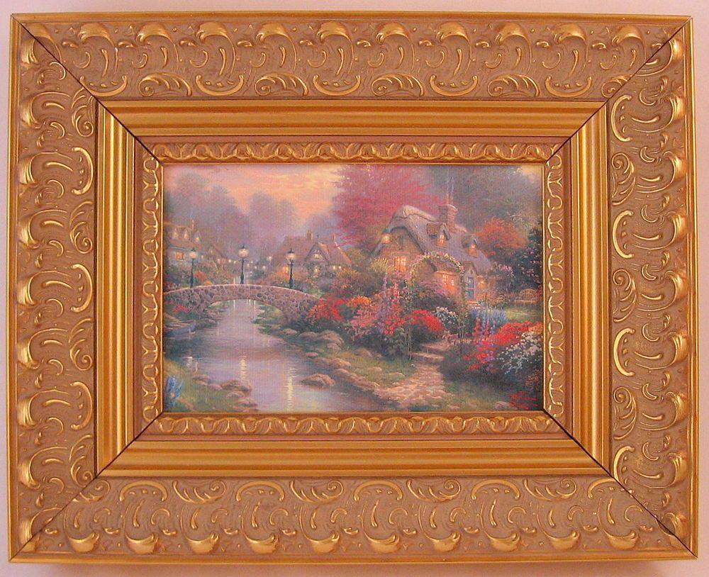 Thomas Kinkade Lamplight Bridge Framed Print Canvas Board | Canvas ...