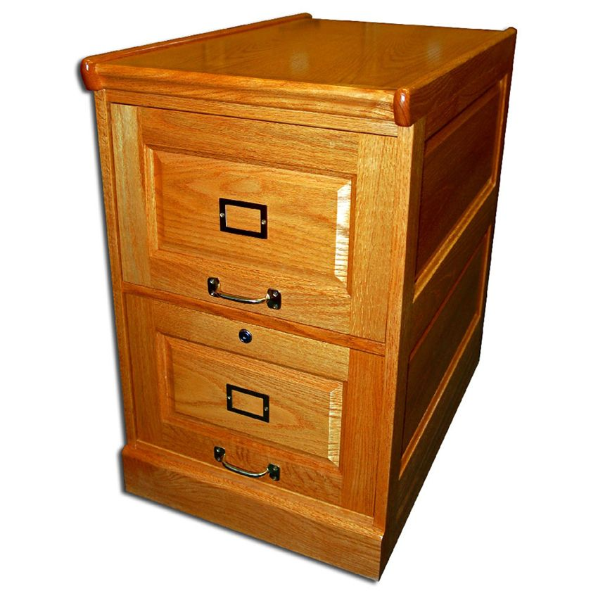 Two Drawer Oak File Cabinet With Raised Side Panels