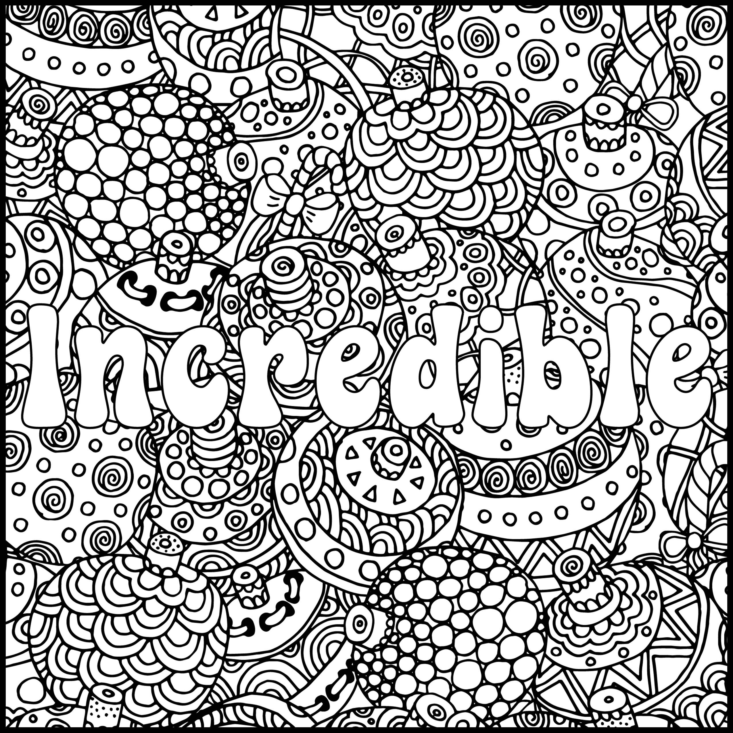 Positive Word Coloring Page Incredible