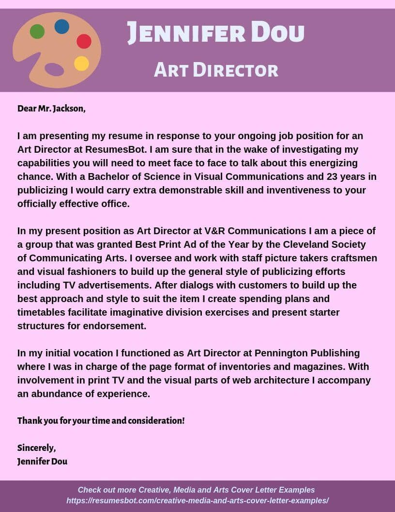 Art Director Cover Letter Samples Templates Pdf Word 2021 Art Director Cover Letters Rb Cover Letter Example Cover Letter For Resume Writing A Cover Letter