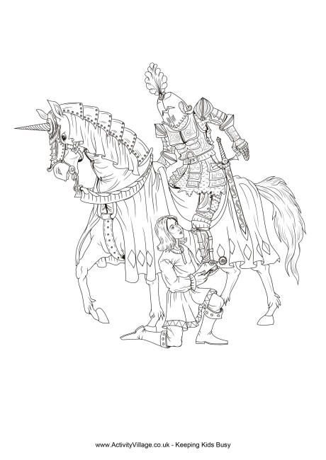 Knight And Squire Colouring Page