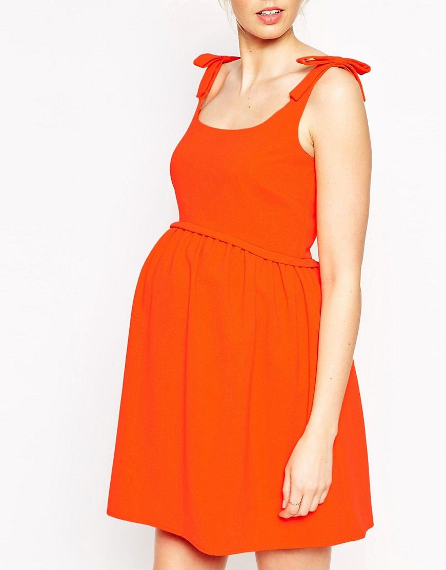 c9e8156436 Image 3 of ASOS Maternity Textured Skater Dress With Bow Shoulder ...