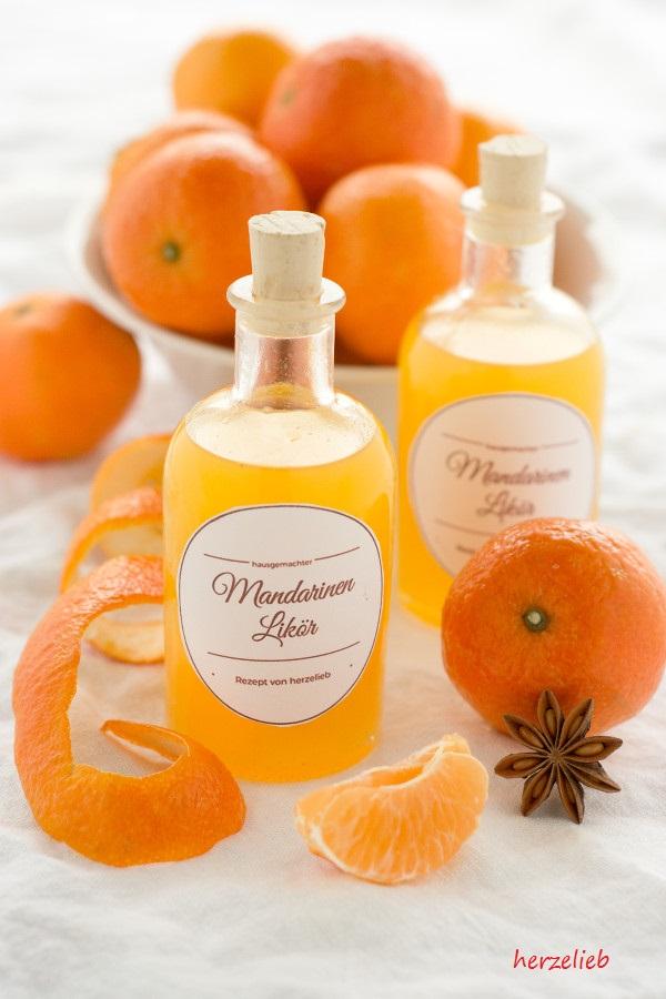 Schneller Mandarinenlikör - Rezept und Etiketten Freebie (Getränk)