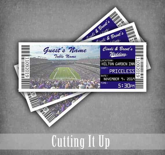 Baltimore Ravens Football Ticket Place Cards / Seating