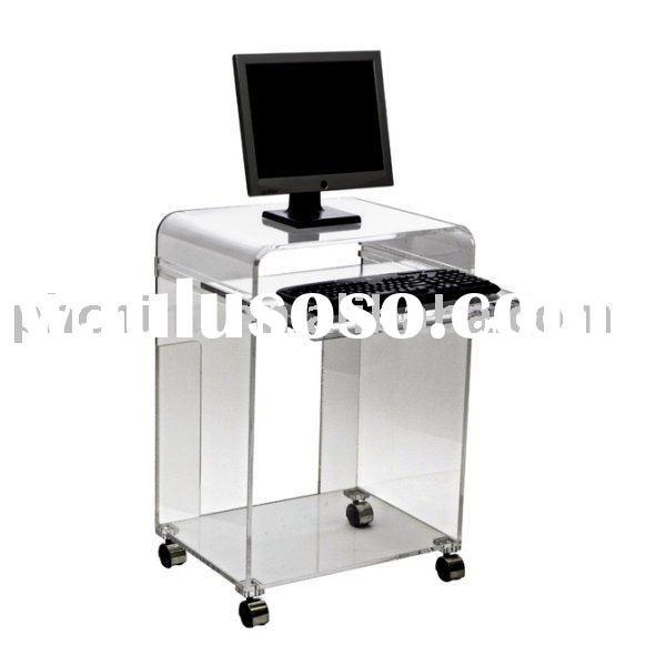 Clear Acrylic Computer Cart Clear Acrylic Computer Desk Clear