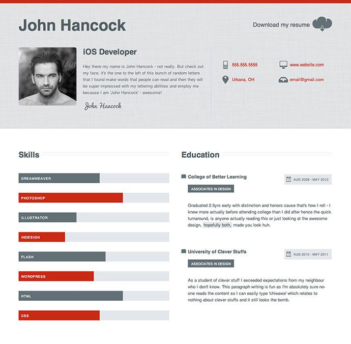 Clean Business Resume Resume CV Templates Pinterest Cv