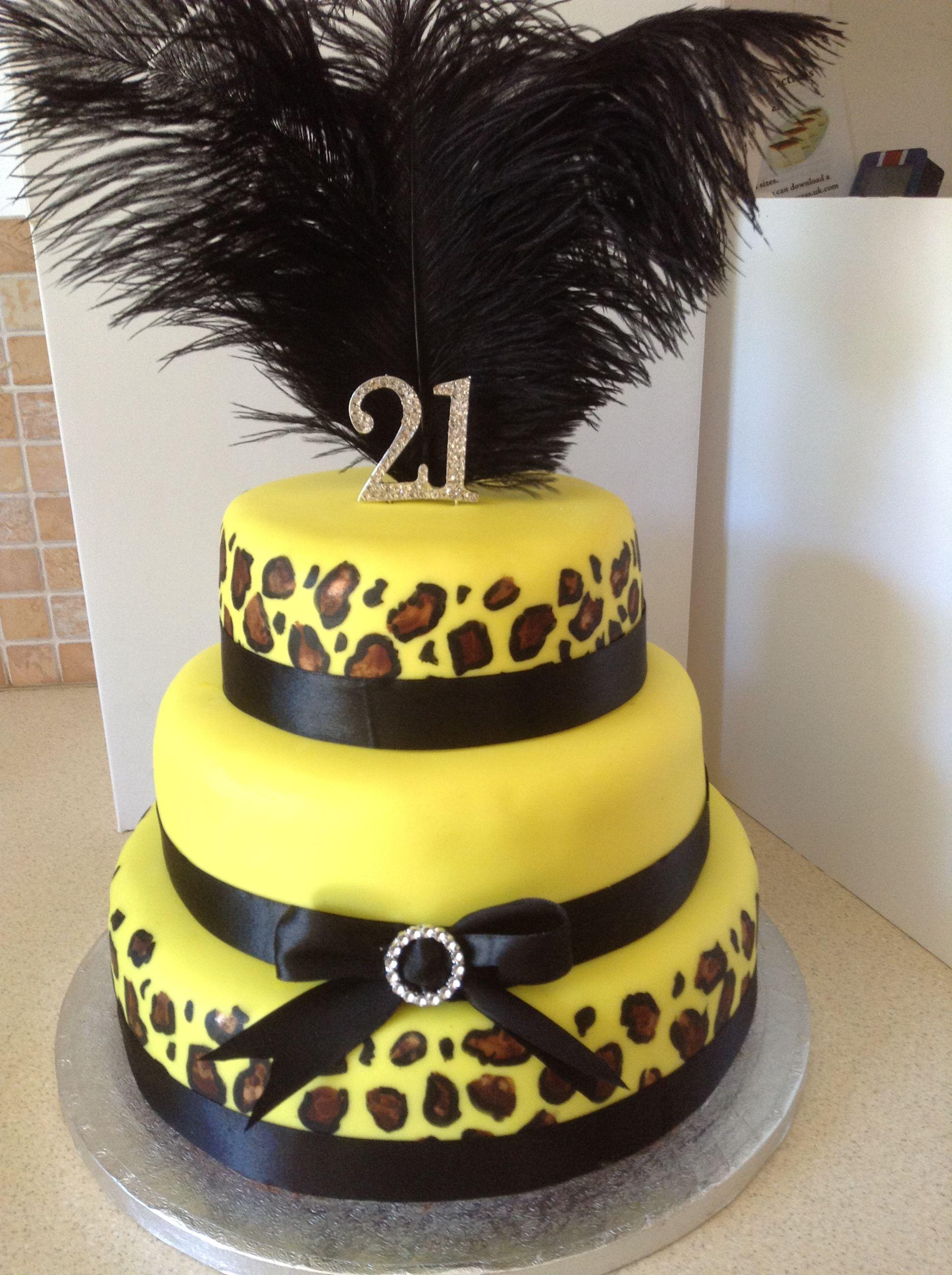 3 Tier Yellow Leopard Print 21st Birthday Cake 21st