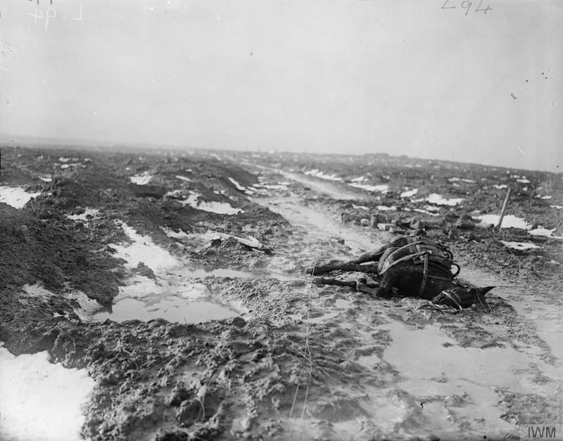 THE BRITISH ARMY ON THE WESTERN FRONT, 1914-1918. A muddy track through the former battlefield, between Broodseinde and Passchendaele, 11 January 1918.