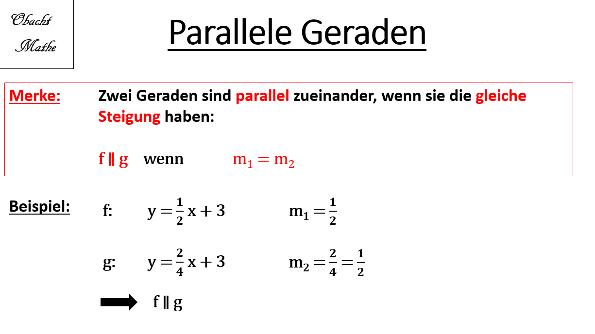 Parallele Geraden Parallel Lineare Funktionen Einfuhrung Einfach Erklart Obachtmathe Learning Math Math Learning