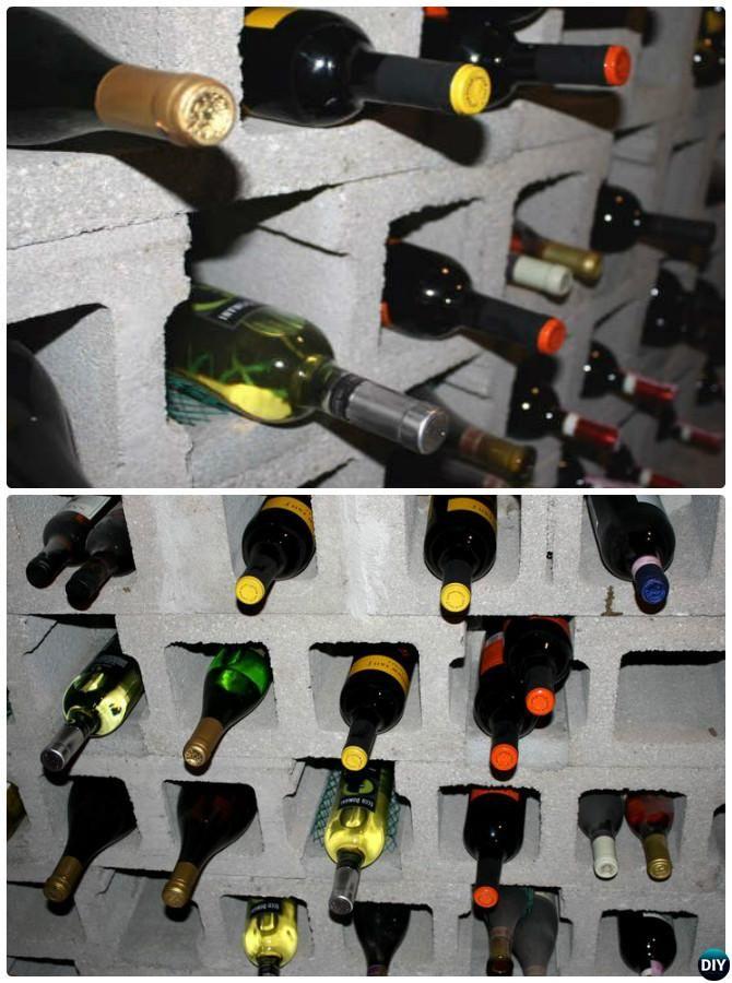 concrete block furniture. DIY Cinder Block Wine Rack-10 Concrete Furniture Projects