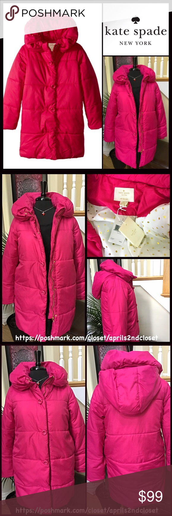 KATE SPADE GIRLS PUFFER COAT Hood 💟 NEW WITH TAGS💟   KATE SPADE PUFFER COAT Cold Weather JACKET   * Detachable hood & stand-up collar   * Allover quilting detail, ribbed knit trim & 2 side pockets   * Front zip & snap button closure   * Water resistant; Size XL = 16 (big girls) Item#KS99500  Fabric: 100% polyester shell  Color: Sweetheart pink  🚫No Trades🚫 ✅Offers Considered*✅  *Please use the blue 'offer' button to submit an offer kate spade Jackets & Coats Puffers