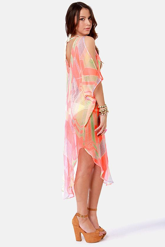 cdd0bff74e Bright Cover-Up - Sheer Cover-Up - Cover-Up Dress - Neon Coral Cover-Up -  Print Cover-Up -  43.00