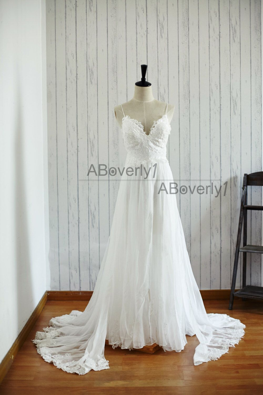 Beach boho lace chiffon backless wedding dress bridal gown by