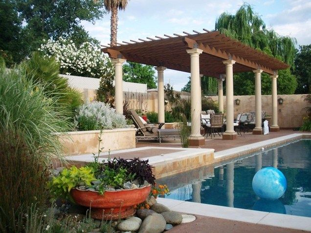 Poolside Pergola Pergola and Patio Cover Karen McGrath Design Redding, ...
